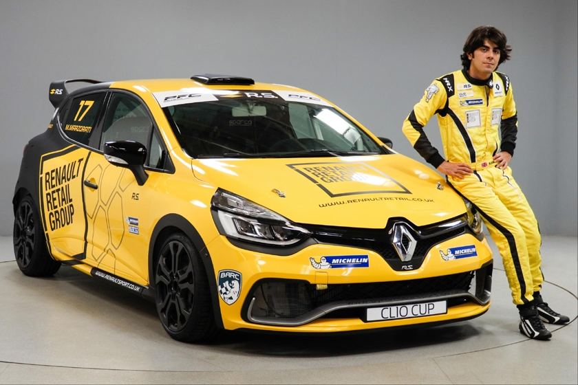 Max Marzorati takes delivery of Renault UK Clio Cup Junior race car from Jolyon Palmer