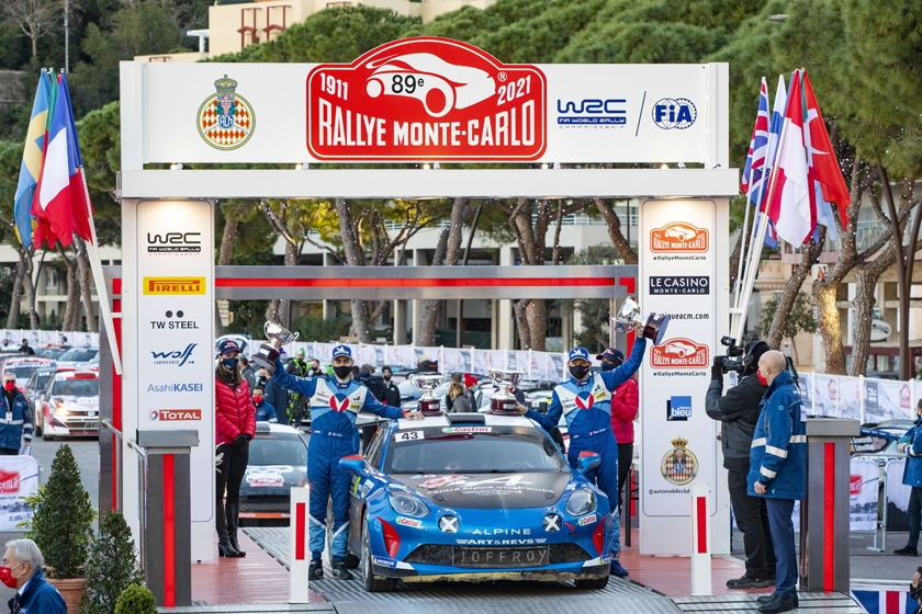 Alpine wins on its return to the Monte-Carlo Rally